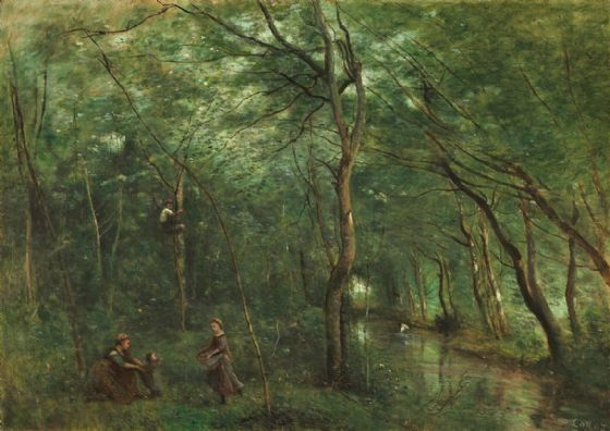 Corot, Jean-Baptiste-Camille: The Eel Gatherers. Fine Art Print/Poster. Sizes: A4/A3/A2/A1 (004043)